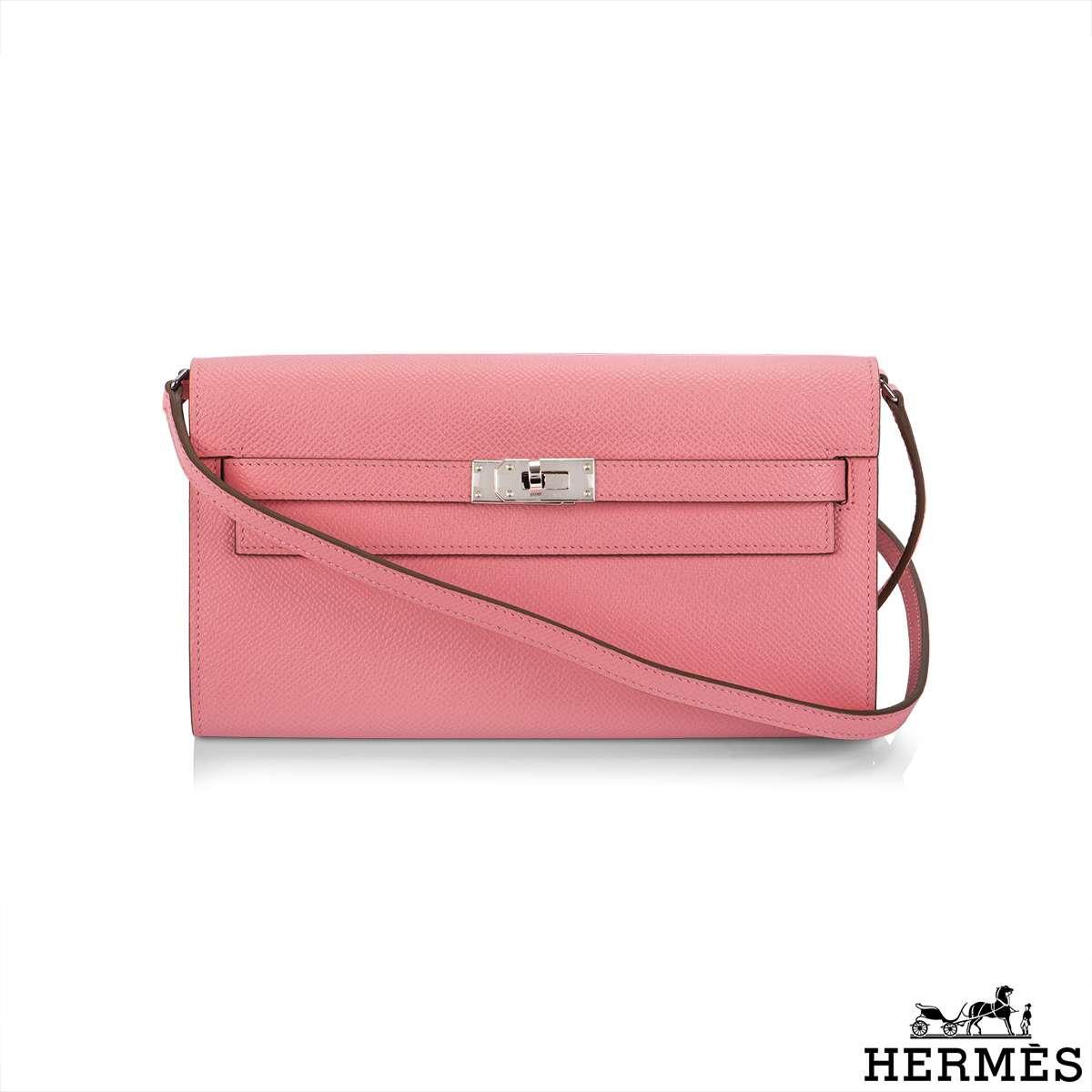 Hermès Rose Confetti Epsom Kelly Wallet To Go PHW